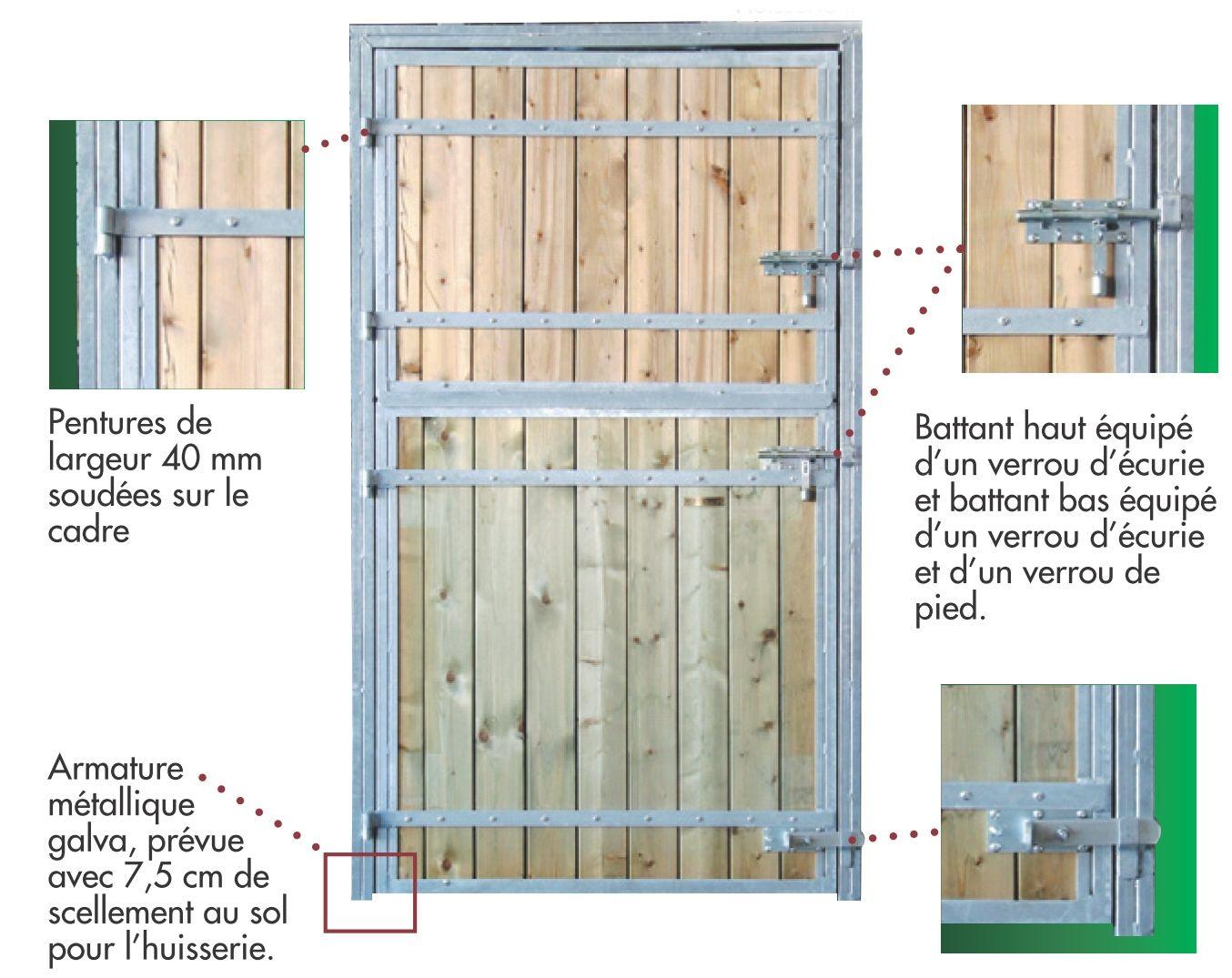 Porte de box pour chevaux 2 battants standard for Largeur porte exterieure standard