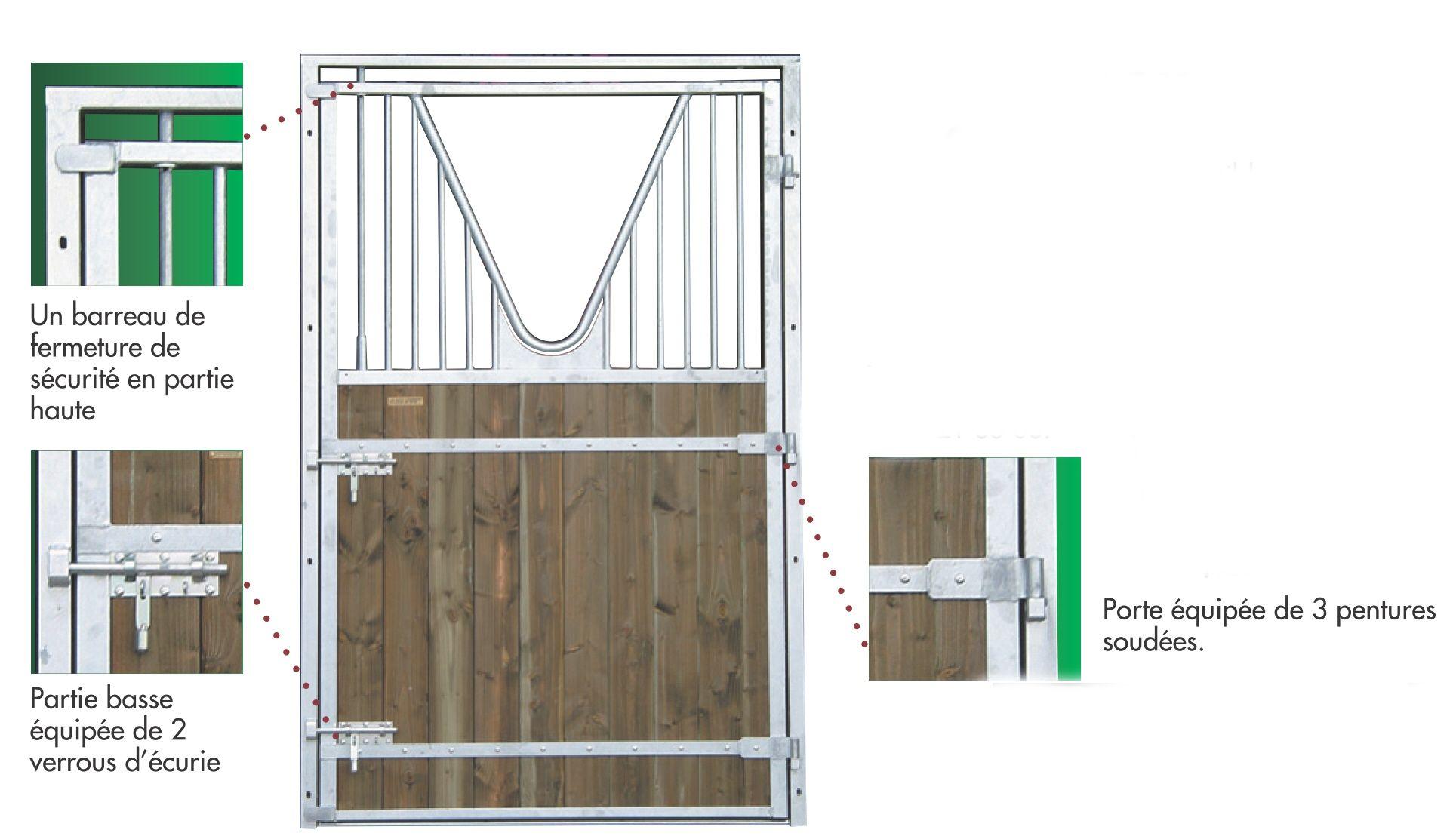 Porte d 39 curie 1 battant grille col de signe - Battant de porte ...